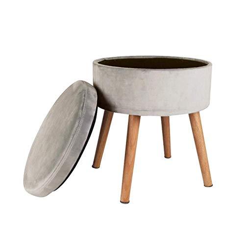 GPWDSN voetsteun voetsteun voetenbank low kruk ronde zitkussens stoel kussens voeten schemel met 4 houten legs grijs
