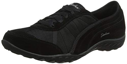 Skechers Women's BREATHE-EASY - WEEKEND WISHES Slip On Trainers, Black (Black Suede/Mesh/Trim Blk), 4 (37 EU)