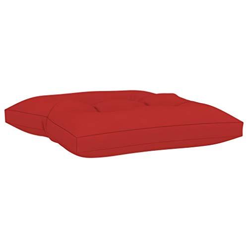 vidaXL Cojín para Otomana de Palets Reposapiés Taburete Asiento Silla Jardín Patio Terraza Balcón Exterior Hogar Grueso Acolchado Tela Rojo