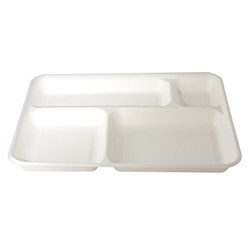 Plateaux jetables 4 compartiments en pulpe de cellulose 37 x 27 cm – biodégradables et compostables – Pack 20 pièces