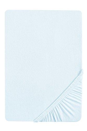 #25 biberna Jersey-Stretch Spannbettlaken, Spannbetttuch, Bettlaken, 90x190 – 100x200 cm, Ciel