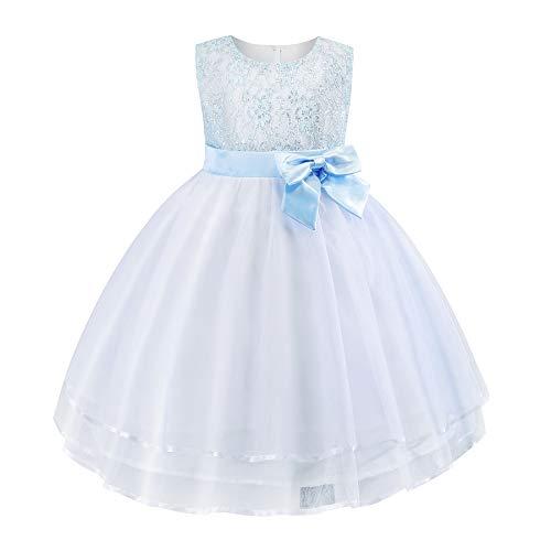 Cichic Kinder Kleider Mädchen Prinzessin Kleid Geburtstags Hochzeits Partei Tüll Kleid Mädchen Formale Kleider Pageant Brautjungfer Prom Kleid (2-3Jahre, Blau-06)