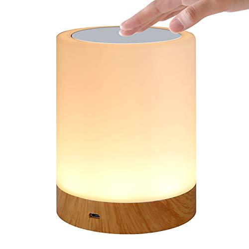 QUTAII®LED-Nachtlicht,Nachttischlampe Stimmungslicht,Tragbare Smart Touch Control Nachtlicht, USB Aufladbar LED Nachttischlampe RGB Farbwechsel-Modi LED Nachtlicht für Kinder, Schlafzimmer, Camping