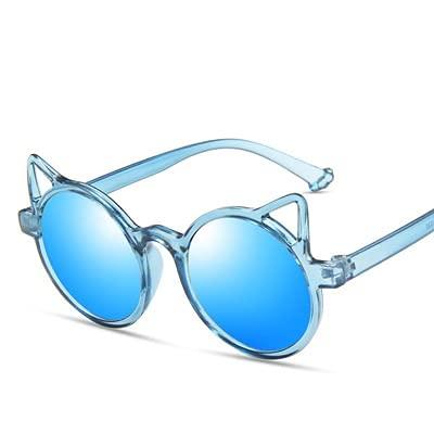 YiXing Gafas de sol de verano para niñas y niños, diseño de dibujos animados, diseño vintage, protección clásica para niños (color del marco: multicolor, color de las lentes: azul hielo 85)