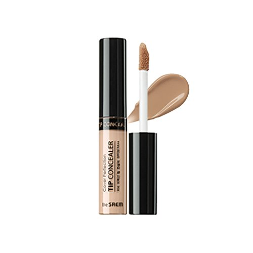 [the SAEM] Cover Perfection Tip Concealer SPF28 PA++ 6.5g - High Adherence Concealer without Clumping and Cracking, Covers Blemishes, Freckles and Dark Circles #1.75 Middle Beige