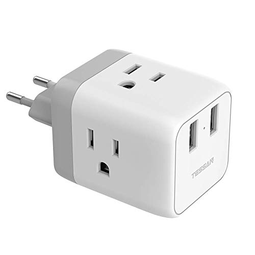 European Travel Plug Adapter, TESSAN European Adapter with 2 USB Ports, International Travel Europe Power Adapter, US to Europe Plug Adapter for France Italy Germany Iceland (Type C)