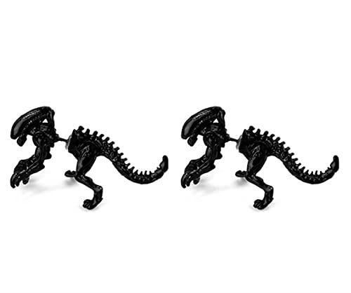 LDGR 2 Unids Joyería 3D Monster Alien Stud Pendiente Negro Color Dinosaurio Pendiente para Mujeres Hombres Halloween Regalo (Metal Color : Black)