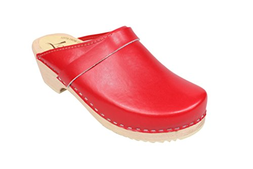 Lotta From Stockholm Torpatoffeln Swedish Clogs : Classic Clog in Red Leather 7.5 B(M) US / 38 M EU
