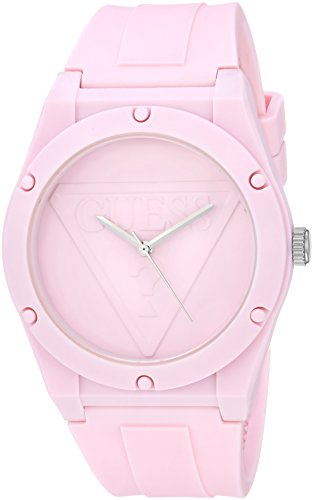 GUESS Iconcic PInk Retro Pop Logo Stain Resistant Silicone Watch. Color: Pink (Model: U0979L5)