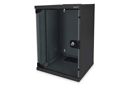 DIGITUS Netzwerk-Schrank 10-Zoll - 9HE - Wandmontage - HxBxT 464x312x300mm - Traglast 30kg - Nutztiefe 250mm - Schwarz, DN-10-09U-B