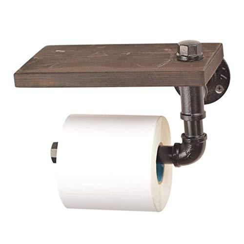 HWNGDI Cuarto de baño rústico Estantes de Papel higiénico Retro Industrial Tenedor de Papel higiénico Baño Rollo de Papel Papel Tisual Colgando Estante de Madera