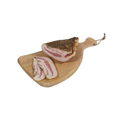 Guanciale sazonado con pimienta de aproximadamente 1,5 kg, producido en Italia a mano (Salumificio Antichi Sapori), carne 100% italiana