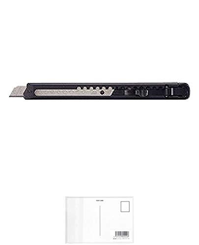 コクヨ カッターナイフ フッ素加工刃 全長135 刃幅9 フッ素加工刃 黒 HA-2-SD/62593090 3 パック + 画材屋ドットコム ポストカードA
