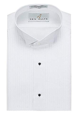 Neil Allyn Mens Tuxedo Shirt Poly/Cotton Wing Collar 1/4 Inch Pleat (16.5 - 32/33) White