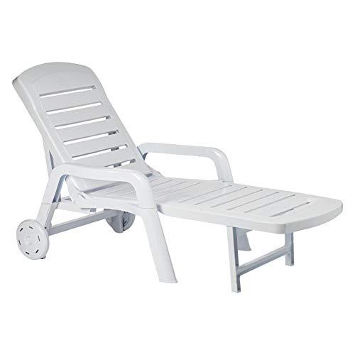 RESOL Palamos Folding Sun Lounger, Plastic, White