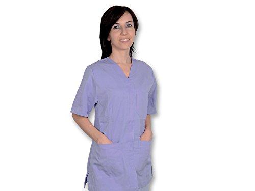GIMA - blouse met knoppen, katoen/polyester, dames, Medium, paars, 1
