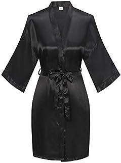YINGER Womens Satin Kimono Robe V Neck Bridesmaid Bathrobe Wedding Party Loungewear Short S-M Black