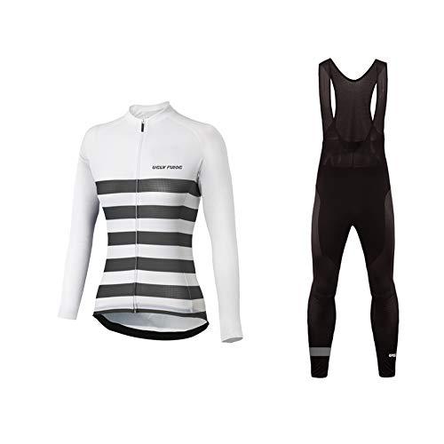 Uglyfrog Bike Wear Damen Fahrradbekleidung Set Langarm-Warm Trikots & Shirts or Lang Herbst Radjacke und Fahrradhosen