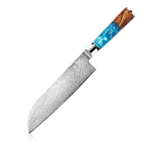 Alta calidad Santoku cuchillos de cocina 67 Las capas de acero de Damasco del cuchillo del cocinero del palo de rosa de la manija que se ocupan de verduras carne de la fruta santoku cuchillo