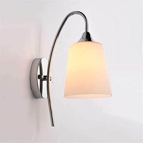 Lámpara de pared LED, aplique de luz para interiores, modernos accesorios de cromo pulido de metal blanco cálido, iluminación decorativa E27 para niños, dormitorio, mesita de noche, cocina, sala de e