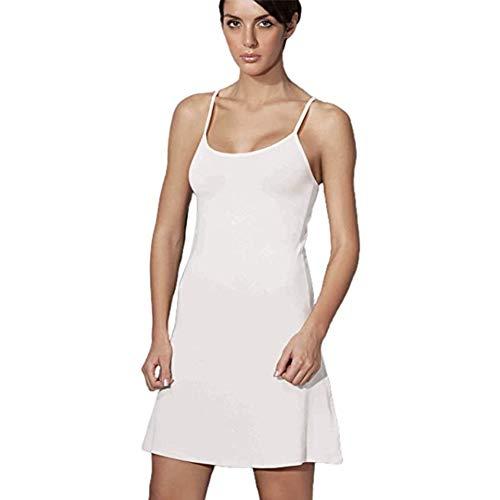 Doreanse Underwear Damen Unterkleid verstellbare Träger Mini Nachtkleid Schwarz Weiß Beige (Weiß, M)