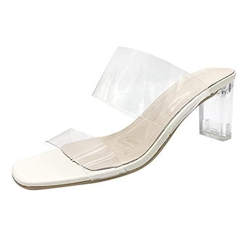 Luckycat Sandalias de Tacón Alto de Cristal para Mujer Moda Casual de Verano Punta Cuadrada Punta Abierta Transparente Cinturón de Una Palabra Sandalias de Vestir de Todo Fósforo 7cm