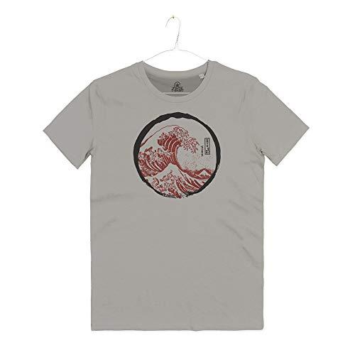 INSIDETSHIRT Maglietta Uomo La Grande Onda Kanagawa Arti Marziali Tai Chi Japan Okusai Great Wave T-Shirt Man (Cloud Grey, M)