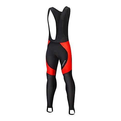 WOSAWE Salopette Lunga per Ciclismo da Uomo, Traspirante 3D Gel Imbottito Lunghi Pantaloni Calzamaglia Termico Invernale (Nero con Rosso XXL)