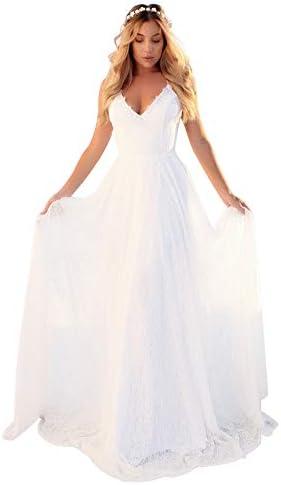 OSMall Women s Wedding Dress Flowy Vintage A Line Backless Lace V Neck Sleeveless Evening Dress product image