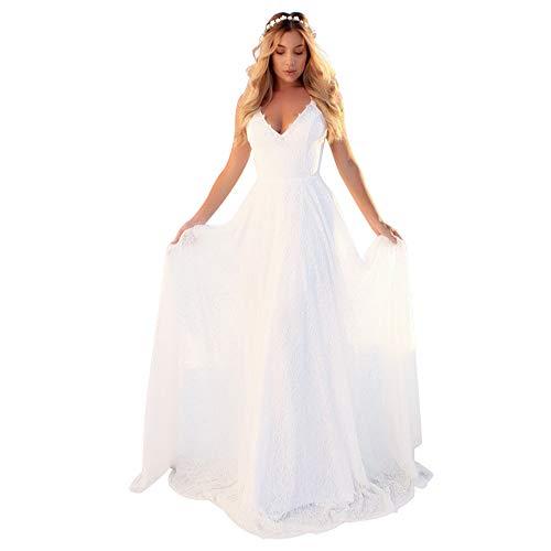 Women Gown Dress Flowy Spaghetti Strap Back Criss Cross Full, White, Size Medium (Apparel)