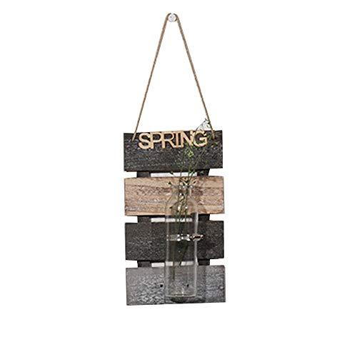 SZETOSY - Jarrón hidropónico colgante para decoración de pared con tablero de madera, para colgar plantas, flores, para decoración del hogar, jardín, sala de estar, cafetería, 30 x 17 cm
