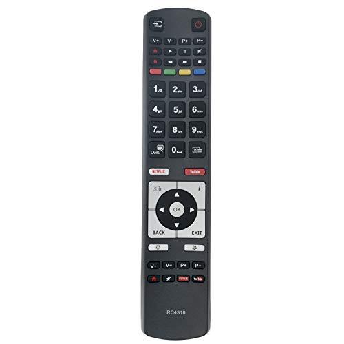 Vinabty RC4318 30100823 - Telecomando di ricambio per televisori Vestel Finlux Telefunken Edenwood 4K Ultra HD con pulsanti NetFlix Youtube