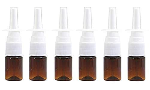 Qfeng 6 STKS 5 ML/0,17 oz Lege navulling Plastic Cosmetische Reizen Verpakking Neusspray Flessenpotten Parfum Make-up Water Opslag Houder Container Sprayers voor Colloïdale Zilveren zouttoepassingen (Bruin)