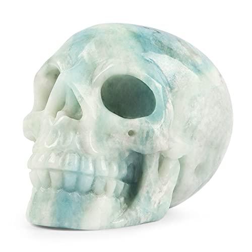 Artistone 3.0' Crystal Skull Figurine,Hand Carved Amazonite Skull Stone Figurines Sculpture Reiki Healing Skull Bone Statue for Halloween Home,Office,Kitchen,Fireplace,Closet Decor(Gift Box)