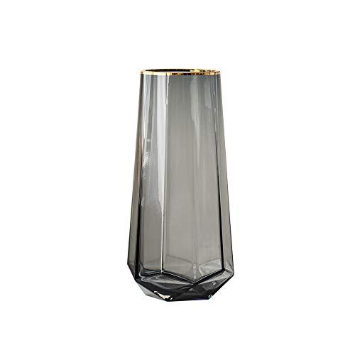 Vase Glasvase Handgemachte Durchscheinend Kristall Vasen 21cm Hoch Gold Linie Mund Dekorative Blumenpflanze Grau Blumenvase ,für Hochzeiten Party Events Dekorieren oder Wohnzimmer Home Decor