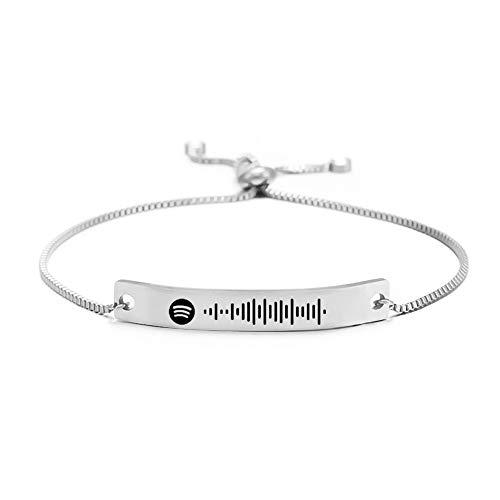 Personalizar Spotify Pulsera Código de escaneo Pulsera Música personalizada Parejas Pulsera Pulsera de acero de titanio Cadena para hombres Mujeres Pareja