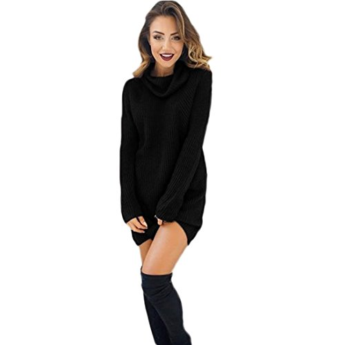 Vestido de Otoño Invierno Mujer, Mujeres Casual Manga Larga suéteres Jersey Chaqueta (L, Nergo)