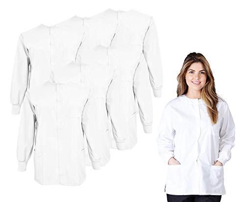 Natural Uniforms Women's Scrub Warm Up Jacket Pack of 6 Set (X-Large, White)