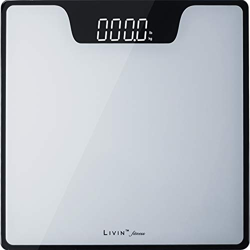 LIVIN Digital Body Weight Scale Digital Bathroom Scale w/ Extra Large LED Display Tempered Glass Top High Precision Rounded Corners StepOn amp AutoOff Max 400 lbs /180 kgs Batteries Included