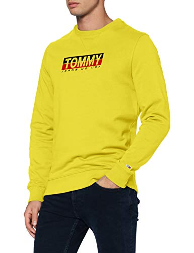 Tommy Jeans Tjm Essential Split Box Crew Maglione, Valley Yellow, L Uomo
