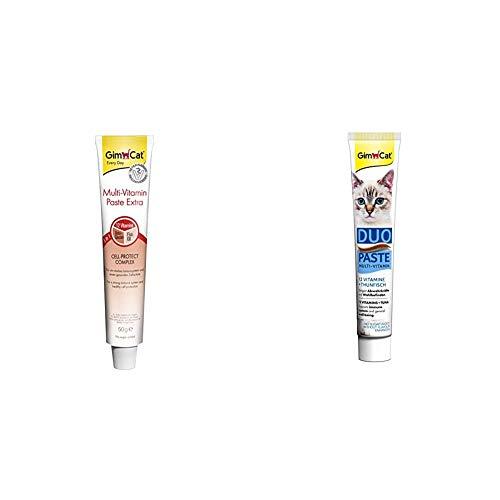 GimCat Multi-Vitamin Paste Extra - Katzensnack mit Beta-Glucan und Omega 3&6 für Zellschutz - 1 Tube & Duo Paste Multi-Vitamin - Wertvolle Vitamine steigern Abwehrkräfte und Wohlbefinden - 1 Tube