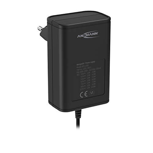 ANSMANN APS 1000 Netzteil 12V - Netzstecker bis max. 1000mA (mit 7 universal Adapter Stecker) Netzadapter zur Stromversorgung vieler Elektrokleingeräte von 3-12 Volt regelbar