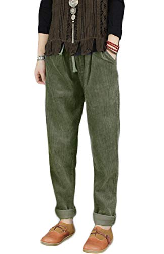 Minibee Women's Casual Corduroy Pants Comfy Pull on Elastic Waist Trousers Drawstring Cotton Pants Army Green M