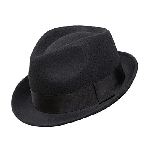Home Prefer Men's Wool Felt Winter Hat Short Brim Fedora Hat Black Large
