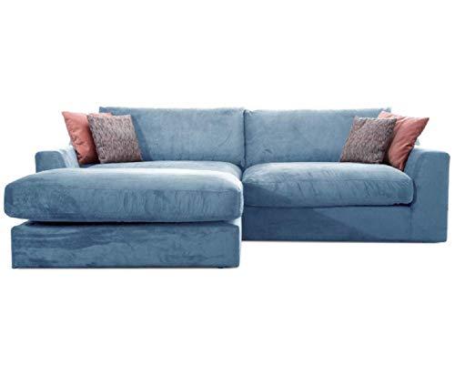 Cavadore Ecksofa Fiona mit Recamiere Links/Große Eckcouch inkl. Rückenkissen im modernen Design / 277x90x199 / Webstoff Hellblau