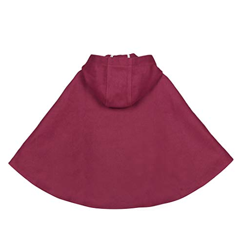 Kids Girls Wool Blend Hoodie Capes Poncho Children Spring Autumn Winter Car Seat Jacket Outwear (Burgundy, 4T)