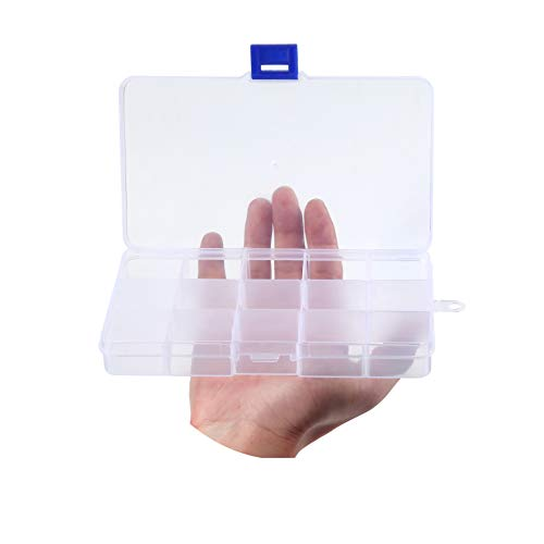 Transparent Plastic Grid Box Storage Organizer For Display Collection with Adjustable Dividers - 15 Clear Grids - 6.9'x4'x0.9'