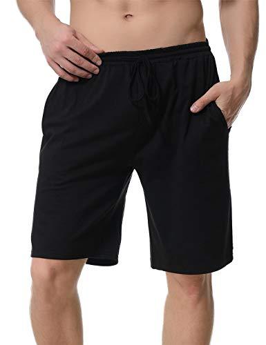 Aibrou Herren Schlafanzughose, Pyjama Shorts Jerseyhose Kurz Pyjamahose (S, 2* Schwarz)