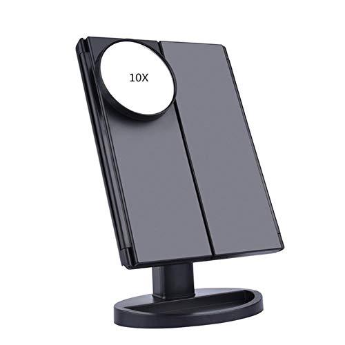 22 Light Touch Screen LED Make-up spiegel Tafel Desktop Vanity1X / 2X / 3X / 10X Vergrotende spiegels 3 Opvouwbare verstelbare spiegel nieuw, zwart met 10X