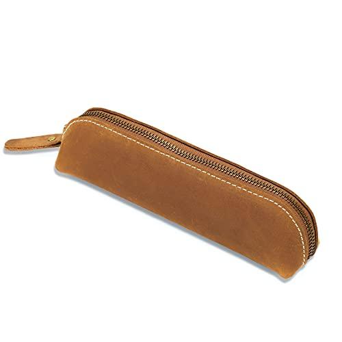 Philbinden Estuche de piel vintage para lápices, bolsa de piel auténtica con cremallera, estuche de lápices para adultos, estudiante, artista, oficina, escuela
